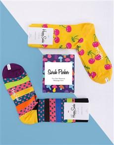 gifts: Personalised Cherry Happy Socks  Giftbox!