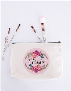gifts: Personalised Floral Wreath Cosmetic Bag!