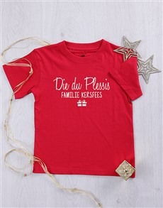 gifts: Personalised Familie Kersfees Kids T Shirt!