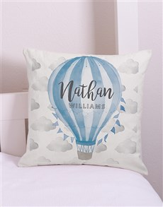 gifts: Personalised Blue Air Balloon Scatter Cushion!