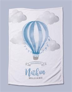 gifts: Personalised Blue Air Balloon Baby Fleece Blanket!