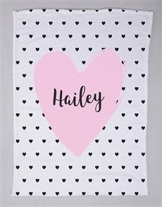 gifts: Personalised Heart Baby Fleece Blanket!