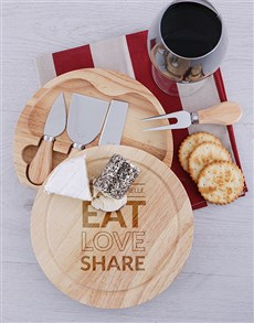 gifts: Personalised Share Round Cheeseboard and Knives!