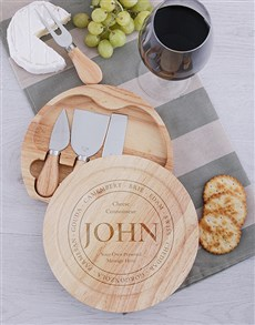 gifts: Personalised Connoiseur Cheeseboard and Knives!