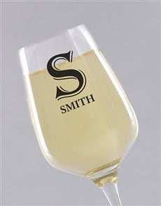 gifts: Personalised Initial Wine Glass!