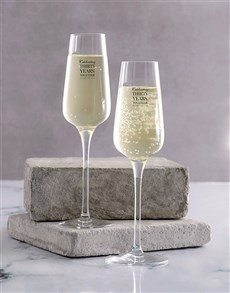 gifts: Personalised Anniversary Champagne Glass Set!