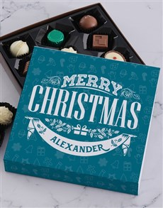 gifts: Personalised Blue Christmas Choc Tray!