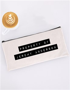 gifts: Personalised Property Of Pencil Bag!