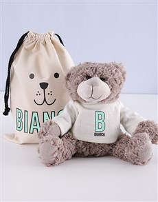 gifts: Personalised Initial Teddy in Drawstring Bag!