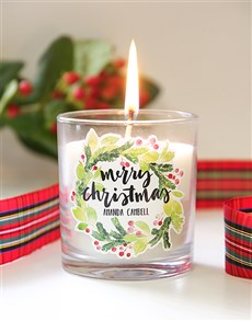 gifts: Personalised Christmas Wreath Candle!
