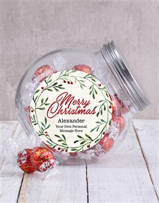 gifts: Personalised Christmas Wreath Candy Jar!