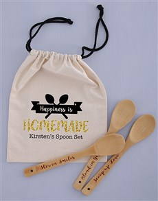 gifts: Personalised Spoon Set in Drawstring Bag!