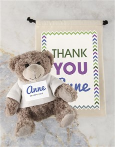 gifts: Personalised Thank You Teddy and Drawstring Bag!