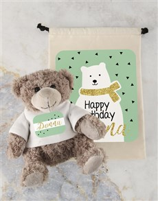 gifts: Personalised Birthday Teddy and Drawstring Bag!