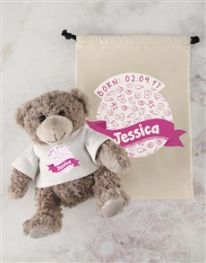 gifts: Personalised New Baby Teddy and Drawstring Bag!