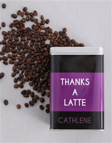 gifts: Personalised Thanks a Latte Coffee Tin!