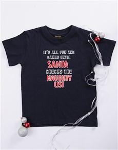 gifts: Personalised Naughty List Kids T Shirt!