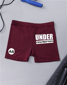 gifts: Personalised Under Construction Gym Hotpants!