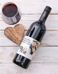 gifts: Personalised You and Me Photo Wine!