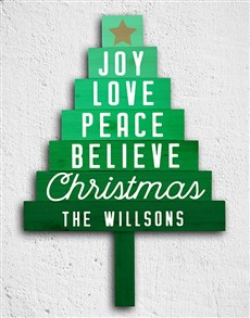 gifts: Personalised Joy Love Peace Tree Panels!