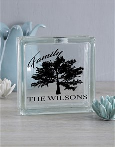 gifts: Personalised Family Tree Glass Brick!