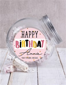 gifts: Personalised Happy Birthday Fem Candy Jar!