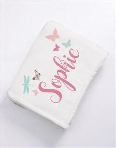 gifts: Personalised Butterflies Baby Fleece Blanket!