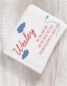 gifts: Personalised Take Flight Baby Fleece Blanket!