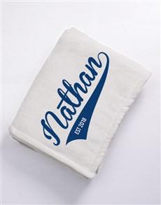 gifts: Personalised Baseball Fleece Blanket!