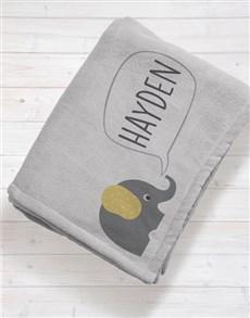 gifts: Personalised Elephant Baby Fleece Blanket!