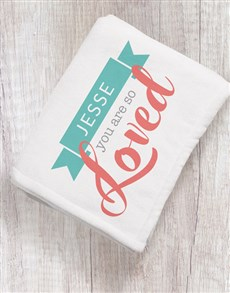 gifts: Personalised You Are Loved Baby Fleece Blanket!