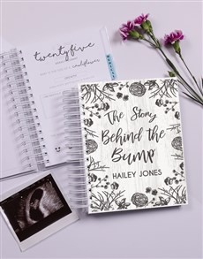 gifts: Personalised Floral Sketch Pregnancy Journal!