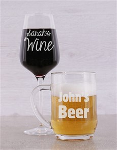 gifts: Personalised Beer and Wine Glass Set!