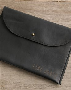 gifts: Personalised Black Leather Envelope Tablet Cover!