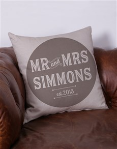 Personalised Mr and Mrs Scatter Cushion