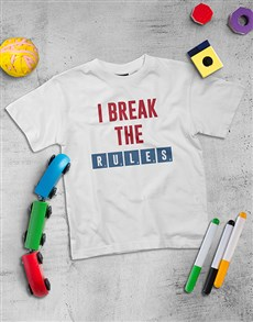 gifts: Personalised I Break The Rules Kids Shirt!