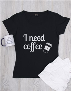 gifts: Personalised Need Coffee Ladies Shirt!