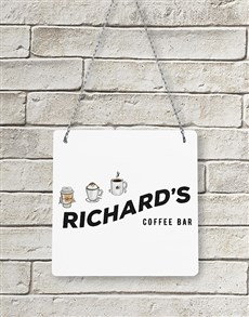 gifts: Personalised Coffee Bar Metal Sign!