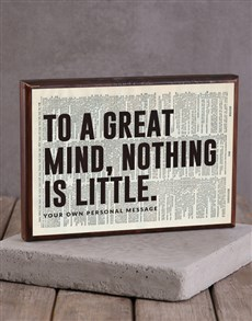 gifts: Personalised Great Mind Wooden Block!