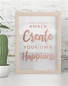 gifts: Personalised Own Happiness Framed Wall Art!