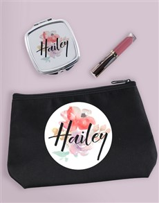 gifts: Personalised Floral Watercolour Cosmetic Bag!