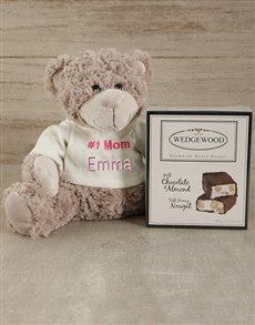 gifts: Personalised Number One Mom Teddy and Nougat!