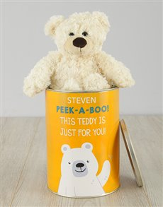 gifts: Personalised Peek A Boo Teddy Tin!