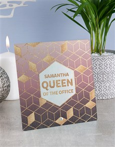 gifts: Personalised Office Queen Glass And Stone Tiles!