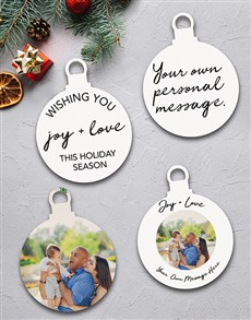 gifts: Personalised Joy and Love Tree Decorations!
