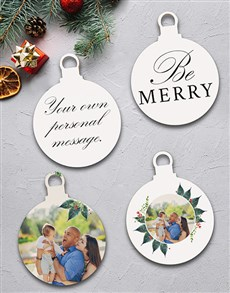 gifts: Personalised Be Merry Tree Decorations!