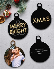 gifts: Personalised Merry And Bright Tree Ornaments!