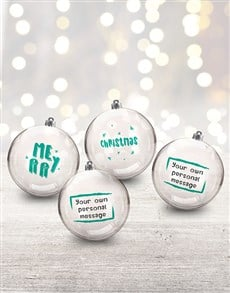 gifts: Personalised Merry and Bright Baubles!