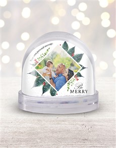gifts: Personalised Be Merry Photo Snow Globe!