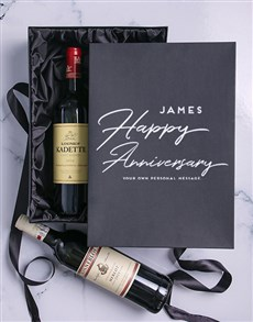 gifts: Anniversary Personalised Wine Duo Giftbox!